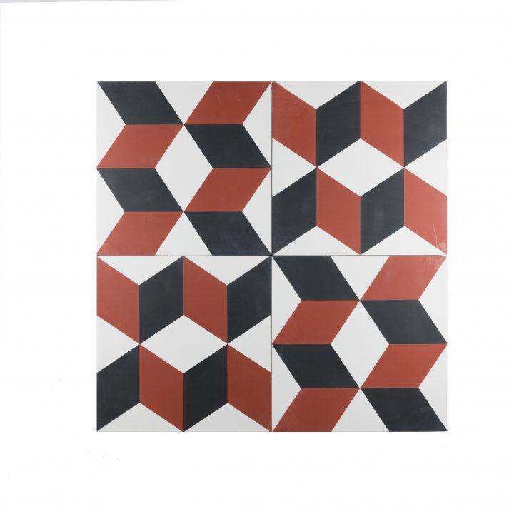 cement-tegels-Ce-2044-4-rood-blok-pijl-bordeaux-wit-figuur-motief-compleet