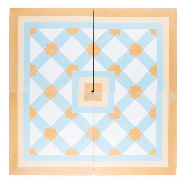 CE2053-beige-geel-blauw-print-ruit-geruit-compleet-motief