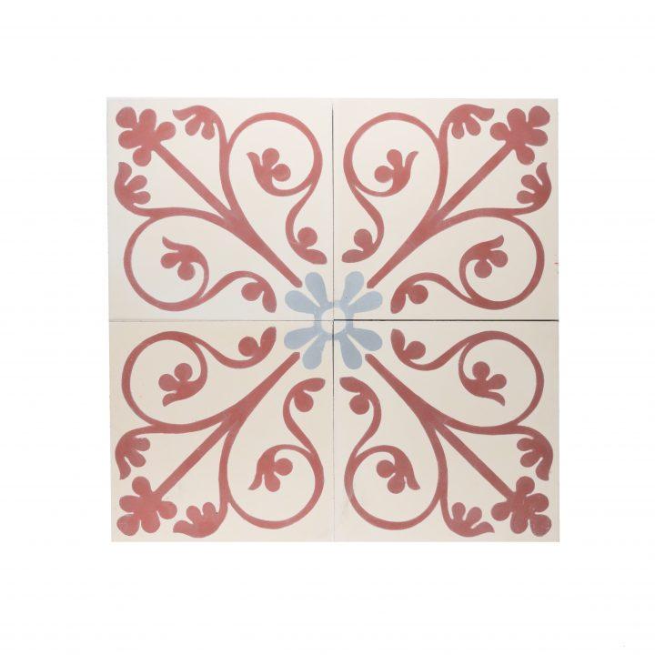 CE-2064-cement-tegels-portugese-tegels-figuur-bloem-motief-print-oranje-beige-grijs-compleet