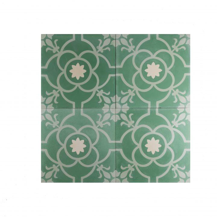 cement-tegels-CE-2067-groen-bloem-wit-lichtgroen-motief-print-compleet