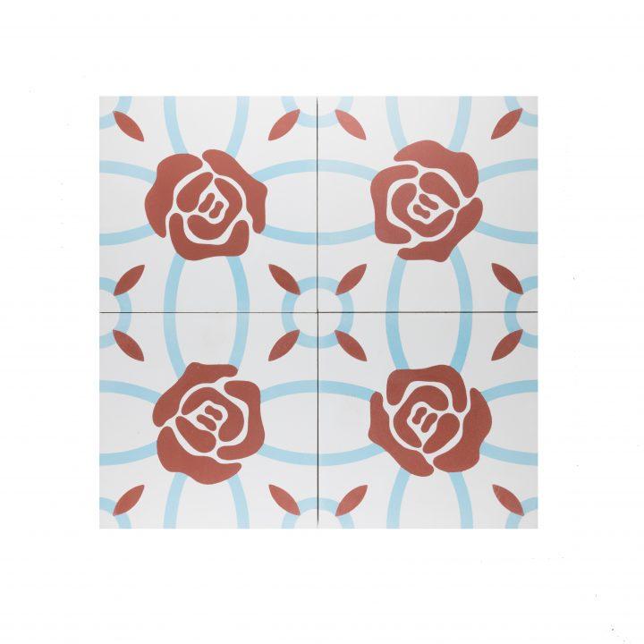 Cement-tegels-CE-2085-bloem-compleet-rood-blauw-wit