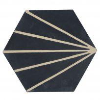 Cement-tegels-HXC202-zwart-gestreept-wit-donkergrijs-effen-hexagon